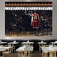 レイカーズタペストリーバスケットボール選手23#壁掛け、ジェームズポスター壁アートレジェンドスポーツマン壁毛布ポリエステルポスター寝室のリビングルームの装飾 H-200*150CM