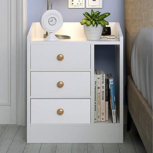 LEPAK Nachttisch mit 3 Schubladen Nachttschrank Nachtkommode Nachtkonsole for Schlafzimmer Holz weiß