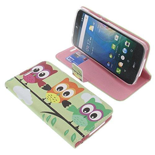 foto-kontor Tasche für Acer Liquid Z630 Liquid Z630S Liquid M630 Book Style Eulen grün Schutz Hülle Buch