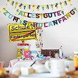 iZoeL Schulanfang Einschulung Schuleinführung Schule Deko Alles Gute Zum Schulanfang Girlande + Schultüte Banner + Folienballon + 123 ABC Konfetti für Junge Mädchen - 5