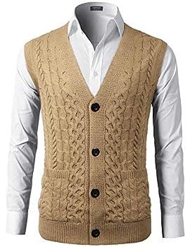 COOFADNY Mens Sweater Vest V-Neck Sleeveless Knit Cardigan Waistcoat with Pocket Khaki