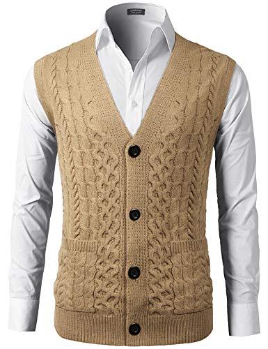 COOFANDY Mens Sweater Vest V-Neck Sleeveless Knit Cardigan Waistcoat with Pocket Khaki