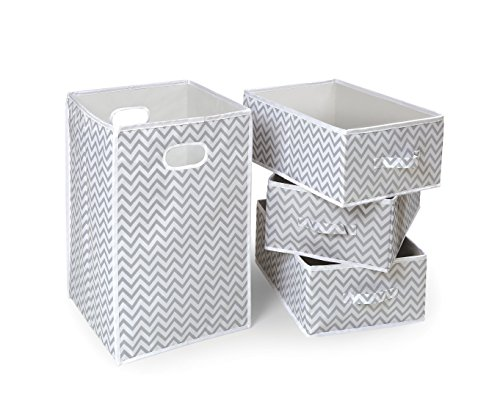 Fabric Folding Square Hamper and 3 Storage Basket Set