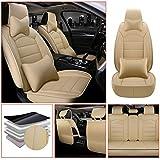 Qiaodi Fundas de asiento de coche de lujo de piel sintética de 5 asientos, ajuste completo para Peugeot 206 206CC 207 207CC 307 307SW 308 308CC 308GT fundas de asiento automotriz protector (beige)