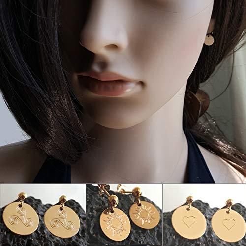 Kleine Runde Ohrringe mit Gravur, Keltische Spirale, Sonne oder Herz, Gold Filled