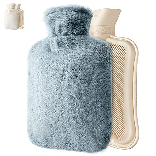 Bouillotte avec une couverture douce et moelleuse, un sac chauffant de 2L pour soulager la douleur, le dos, le cou et les crampes menstruelles, excellent cadeau pour Dames, hommes et enfants (Gris)