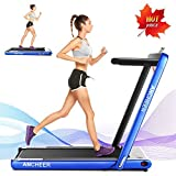 ANCHEER 2 in1 Folding Treadmill, 2.25HP Under Desk Electric Treadmill with Remote Control and Bluetooth Speaker & LCD Monitor,Installation-Free,Exercise Fitness Machine for Home/Office Use (Blue)