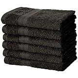 Amazon Basics Fade-Resistant Cotton Hand Towel - 6-Pack, Black