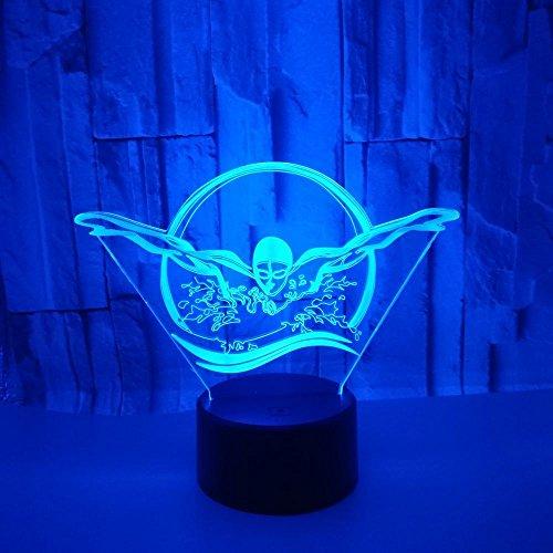 Weihnachtsgeschenk Figur Schwimmen Spielzeug 3D Illusion Lampe Led Nachtlicht Neben Tischlampe, 16 Farben Auto Ändern Touch Schalter Dekoration Lampen Festival Geburtstagsgeschenk
