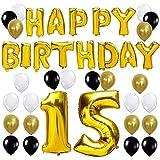 KUNGYO Letras Tipo Balón Doradas Happy Birthday+Número 15 Mylar Foil Globo+24 Piezas Negro Oro Blanco Globo de Látex 15 Años de Antigüedad Fiesta de Cumpleaños Decoraciones