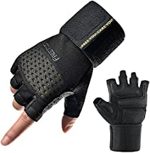 FREETOO Wristwrap Weightlifting Gloves for Men, [Ultimate Support] [Vented Design] Men Workout Gloves with Extra Grip and Cushion Pads Gym Gloves Strength Training Exercise Gloves for Men