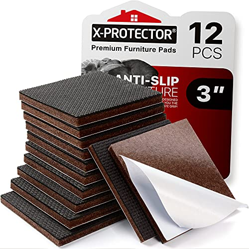 X-PROTECTOR Non Slip Furniture Pads – 12 Premium Furniture Grippers 3'! Best SelfAdhesive Rubber Feet Furniture Feet – Ideal Non Skid Furniture Pad Floor Protectors – Keep Furniture in Place!