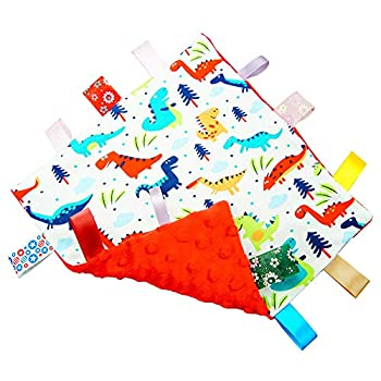 G-Tree Baby Comfort Blanket with Tag Taggy Blanket - Multi-Coloured Dinosaurs Tag Taggy Blanket - Red Textured Underside