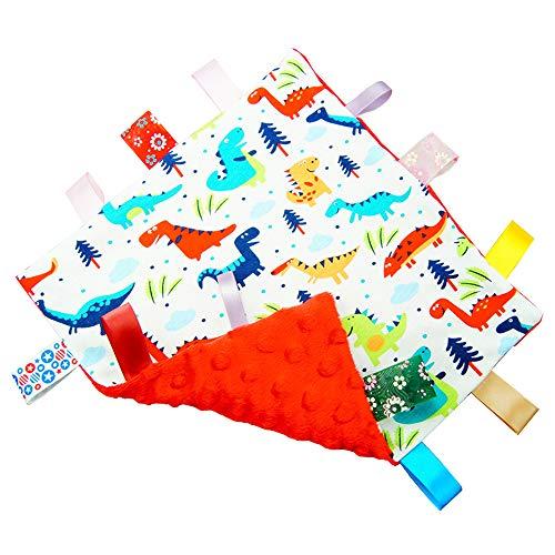 G-Tree Bebé Manta Confort con Etiqueta, Doudou Taggy Manta de seguridad, Multicolores Dinosaurio Manta con Cintas Juguete para la Dentición del Bebé - Rojo Textura Inferior