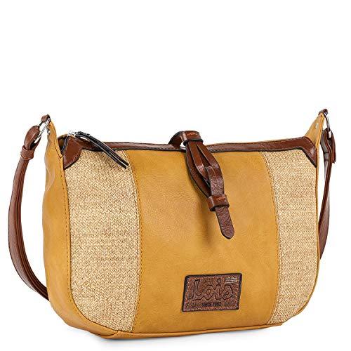 Lois - Damentasche mit verstellbarem Schulterriemen. Raffia und Leder. Praktisch und bequem für den täglichen Gebrauch. Gute Qualität und schönes Design, widerstandsfähig 307430, Color Senf