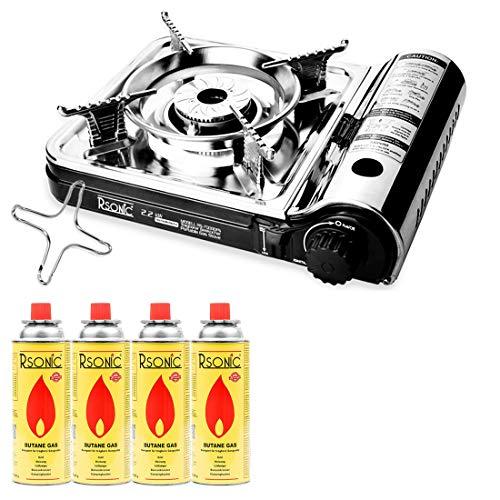 Placa de Parrilla y Cruz de Gas RSonic RS-7000DFS Encendedor de carb/ón Mianova Modelo Rs-7000dfs en malet/ín Kocher Hornillo de Gas para Camping 4 Gasflachen Cartuchos de Gas