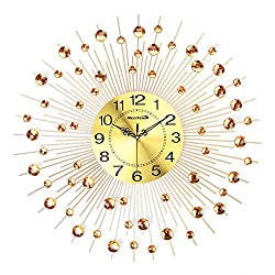 Large Decorative Non Ticking Modern Gold Wall Clock