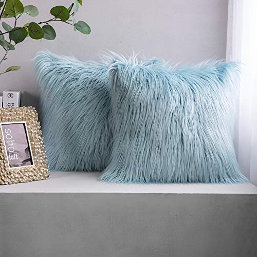 Phantoscope Pack of 2 Faux Fur Throw Pillow Covers Cushion Covers Luxury Soft Decorative Pillowcase Fuzzy Pillow Covers for Bed/Couch,Light Blue 18 x 18 Inches