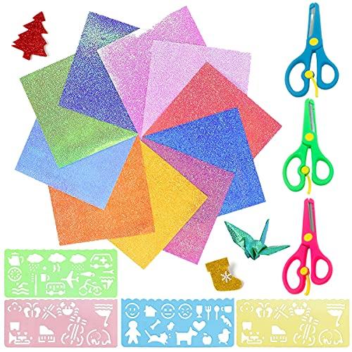 50 Hojas Papel para Origami, Papel para Papiroflexia, Purpurina de Espuma, Gomaespuma Glitter Papel Goma, Papel de Papiroflexia Brillante para Manualidades Envoltura Scrapbook Proyectos para Niños