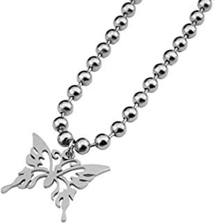niumanery Butterfly Stainless Steel Pendant Necklace Ball Chain Punk Rock Necklace Unisex 6mm