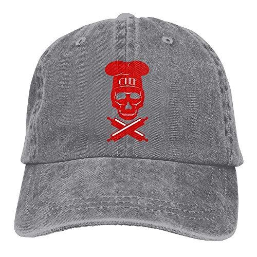 JIMSTRES Death Skull Chef Denim Hat Adjustable Unisex Washed Baseball Cap