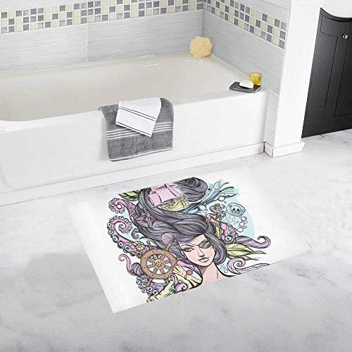 Suave antideslizante Alfombrilla de baño Interior de dibujos animados Hermoso Mar Traje de baño Chica Baño y alfombras Posh Alfombrilla de baño Absorbente Microfibra Baño Decoración de la granja