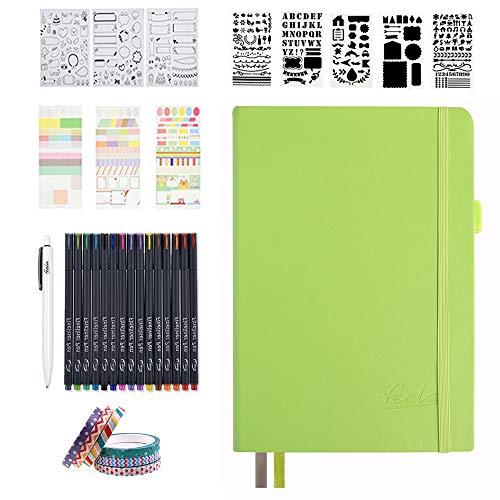 Bullet Doted Journal Kit,Feela A5 Diaz poited Bullet Grid Journal insieme con verde mela Notebook,Fineliner Pens,Reuitable Stencils,Sticker Sheets,Washi Tape,Black Pen for Diary,Schedule Plan,Disegno