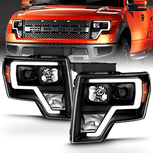 AmeriLite Black Projector Headlights LED Bar Set for Ford F150 (Pair) High/Low Beam Bulb Included