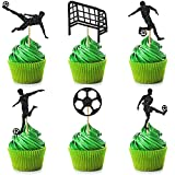 48 Pieces Soccer Cupcake Toppers Football Themed Cupcake Picks Sport Cupcake Decorations Soccer Ball Birthday Cake Top Hat for Soccer Sports Party Supplies Birthday Baby Shower Cake Decor