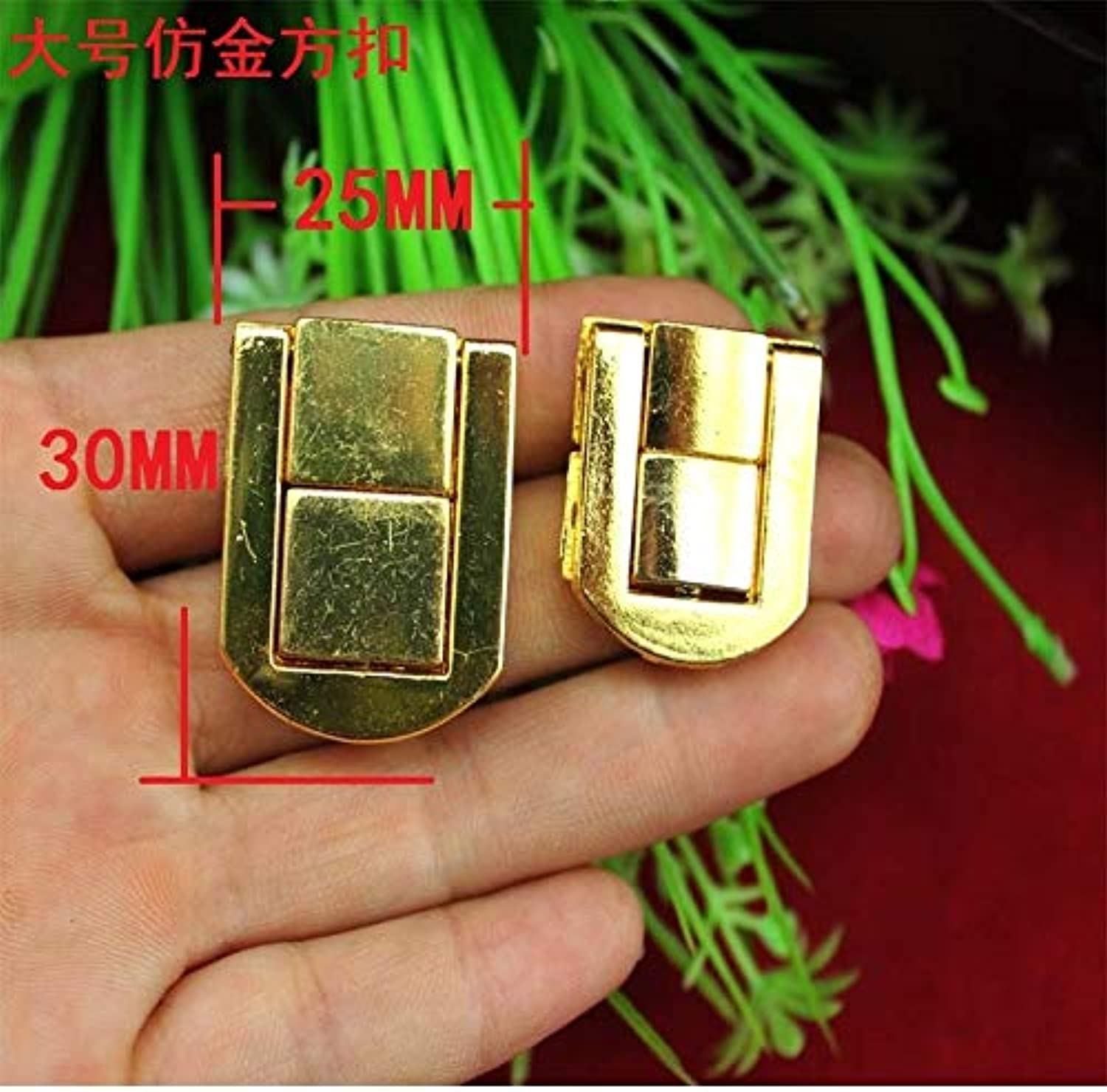 25  30mm Large Imitation gold Square Buckle Wooden Gift Box Lock Wine Lock Package Decoration Accessories Wholesale