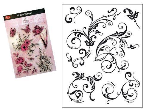 Viva Decor®️ Clear-Stamps (Florale Schnörkel) Silikon Stempel - Prägung Stempel - DIY Dekoration stanzen - Stempel Silikon - DIY Stamp - Stempel Prägung - Made in Germany