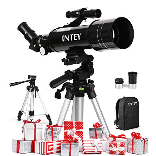 INTEY Télescope Astronomique F400mm, Grossissement (67X, 16X) Oculaire Kellner (K6mm, K25mm), Objectif de 70mm, Cadeau de Noël pour Enfants/Débutants, Trépied Réglable, Explorer le Ciel/la Nature