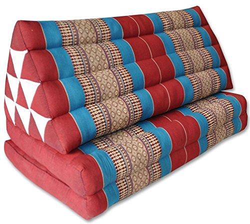 Wifash Coussin Thailandais Triangle XXL avec Assise 2 Plis, détente, Matelas, kapok, Fauteuil, canapé, Jardin, Plage Rouge/Bleu (81217)