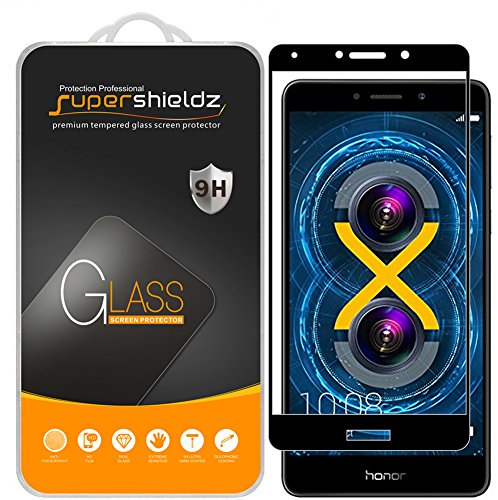 (2 Pack) Supershieldz for Huawei Honor 6X Tempered Glass Screen Protector, (Full Screen Coverage) Anti Scratch, Bubble Free (Black)