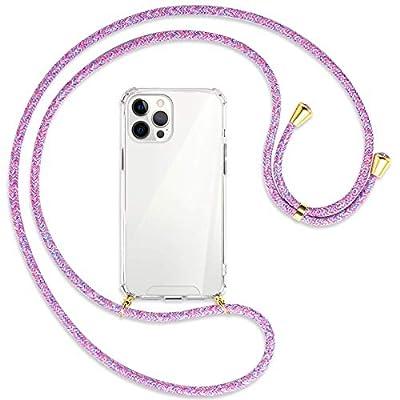 mtb more energy® Collar Smartphone para Apple iPhone 12 Pro MAX (6.7'') - Unicornio Morado/Oro - Funda Protectora ponible - Carcasa Anti Shock con Cuerda Correa