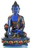BUDDHAFIGUREN Estatua budista - Buda de medicina de 20 cm de altura - pintado de azul, resina