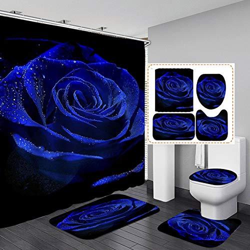 Camille&Andrew 4PCS/Set Dewy Royal Blue Rose Shower Curtain, Valentine's Day Gift Elegant Floral Romantic Flower Bathroom Decor, Fabric Bath Curtain Non-slip Bath Rugs Toilet Carpet Bathroom Mat, Blue