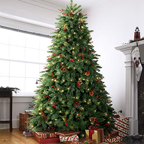 LIFEFAIR 10FT Prelit Christmas Tree, Decorated with 1000 Clear Lights and Realistic 3200 Thicken Tips, Hinged UL Certified