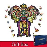 2021大人のための新しい木のパズルのための新しい木のパズルの木の木のdiyの工芸品動物形のクリスマスギフト木製ジグソーパズル地獄の難易度 (Color : Elephant (C), Wood Diameter : M Gift Box)