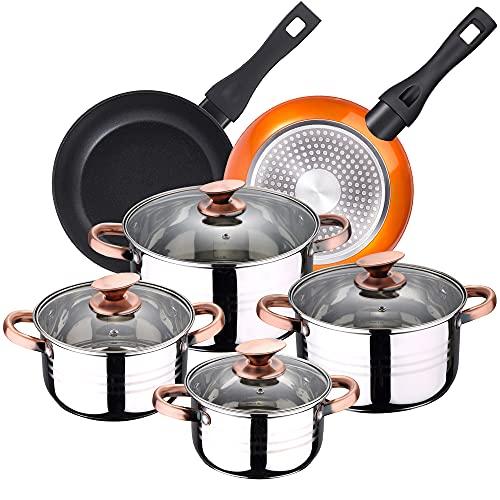 Bateria de cocina 8 piezas apta para induccion SAN IGNACIO Altea en acero inoxidable con juego de sartenes Neon (20,24 cm) en aluminio forjado aptas para induccion