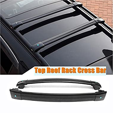 MotorFansClub Black Top Roof Rack Luggage Cross Bar For JEEP Cherokee 2014-2017 by