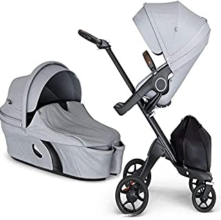 Stokke Xplory V6 Black Chassis Stroller with Brown Leatherette Handle, Grey Melange with Carry Cot