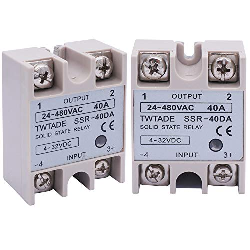 2PCS TWTADE SSR-40 DA 40A DC 3-32V to AC 24-380V SSR Single Phase Solid State Relay ssr-40da