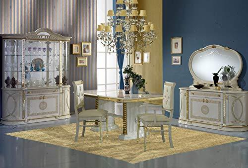 BYBLOS - Juego de mesa de comedor barroco lacado en color marfil y dorado