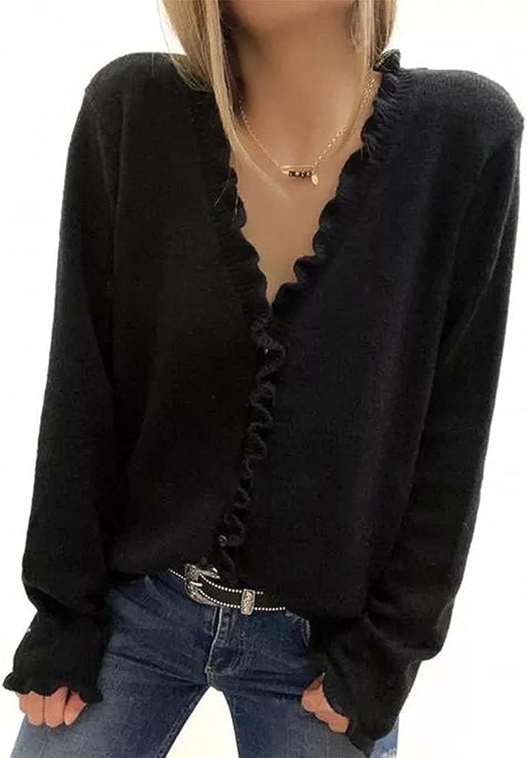 MIRACMODA Women's Elegant Casual V Neck Cardigans Ruffles Long Sleeve Cardigan
