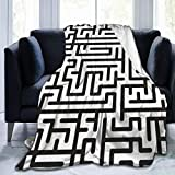 GugeABC Ultra-Soft Micro Fleece Blanket,Route Black Blackandwhite Abstract Complex Maze Graphic Pattern White Line Labyrinth Puzzle Confusion,Home Decor Warm Throw Blanket for Couch Bed,80'X 60'