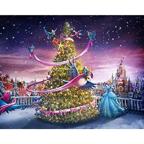 Pintura de Diamantes Hermoso Árbol de Navidad 30X40cm Por El Kit de Números,Pintura de Diamantes 5D Lienzo Bordado Artesanías de Arte Diamantes de Imitación Para La Decoración de La Pared Del Hogar