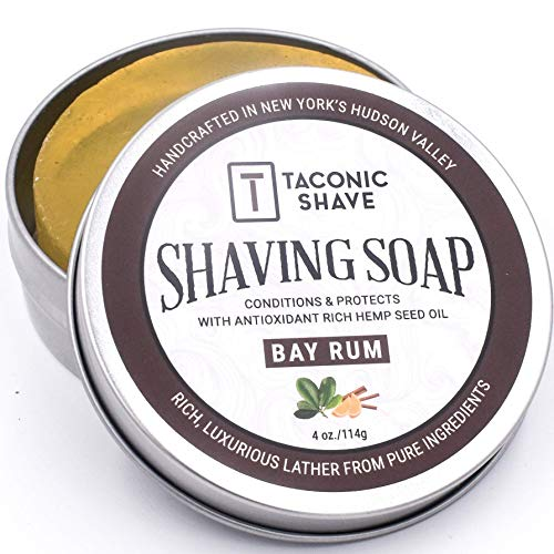 Taconic Shave Barbershop Quality Bay Rum Shaving Soap with Antioxidant-Rich Hemp Seed Oil