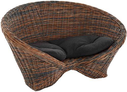 korb.outlet Lotus-Stuhl Meditationssessel aus echtem Rattan/Yoga Sitz zur Meditation Sessel (Schwarz Braun mit Kissen)