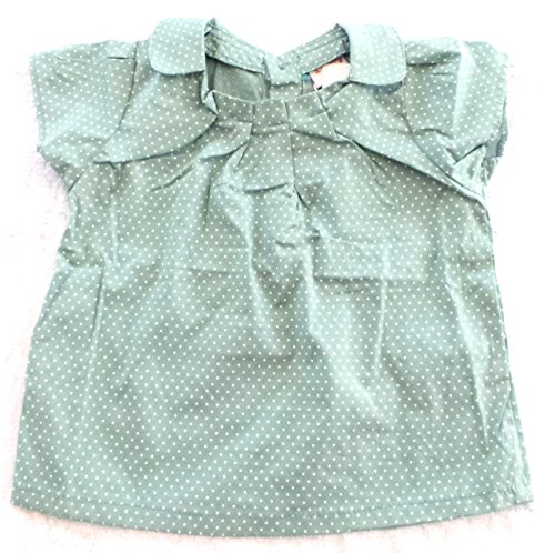 Réf450 BB.125 - blouse baby kinderen meisjes - T-shirt groen met witte stippen - Claudinkraag Vintage